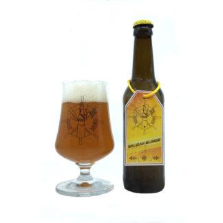 Ahoi Bier Flasche und Glas Belgian Blonde